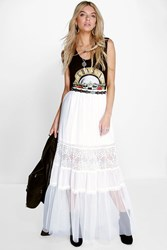 Boohoo Tiered Tulle And Lace Maxi Skirt Ivory
