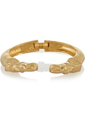 Kenneth Jay Lane Gold Plated Swarovski Crystal Cuff Metallic