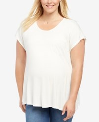 Motherhood Maternity Plus Size Lace Trim T Shirt White