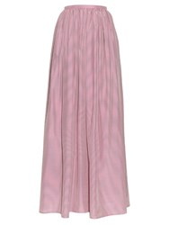 Thierry Colson Grisette Striped Silk Skirt Pink
