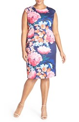 Vince Camuto Plus Size Women's Print Extended Shoulder Scuba Knit Sheath Dress Navy Pink