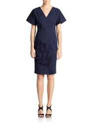 Josie Natori Denim Embroidered Dress Indigo