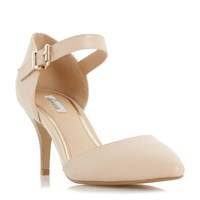 Linea Charta Stacked Heel Open Court Shoes Nude
