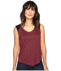 Calvin Klein Jeans Lace Pieced Sleeveless Red Mahogany Women's Sleeveless Brown