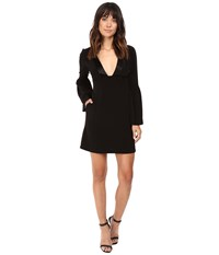 Jill Stuart Short Satin Back Crepe Dress With Bell Long Sleeves And Deep V Black Women's Dress
