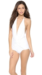 Karla Colletto Plunge Back One Piece Swimsuit White