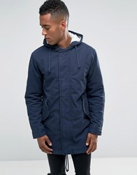 Jack And Jones Hooded Parka With Borg Lining Navy