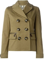 Burberry Brit Double Breasted Blazer Jacket Green