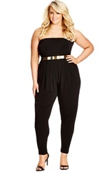 City Chic 'So Sleek' Belted Strapless Jersey Jumpsuit Plus Size Black