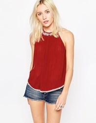 Influence Cheesecloth High Neck Pom Pom Hem Top Chilli Red