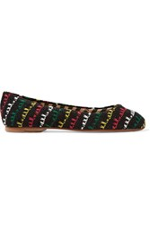 M Missoni Crochet Knit Ballet Flats Black