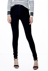 Boohoo High Rise Black Skinny Tube Jeans Black