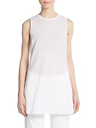 Theory Pingacrisp Back Button Tunic White