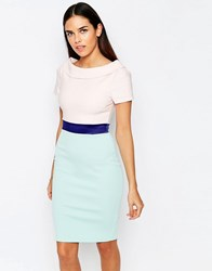 Vesper Brodie Contrast Skirt Pencil Dress With Waistband Nudemint