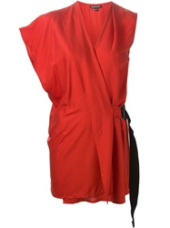Ann Demeulemeester Side Buckle Asymmetric Top Red