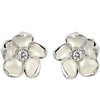 Shaun Leane Cherry Blossom Silver Ivory Enamel And Diamond Stud Earrings Large
