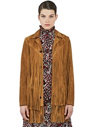 Saint Laurent Long Fringed Suede Leather Jacket Brown