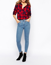 Just Female Pag Skinny Jeans With High Low Hem Blue