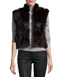 Adrienne Landau Fitted Rabbit Fur Vest Merlot