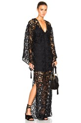 Adriana Degreas Guipuir Lace Lined Kaftan In Black