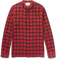 Gucci Slim Fit Tie Neck Checked Cotton Blend Shirt Red