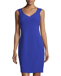 Marc New York By Andrew Marc Sleeveless V Neck Sheath Dress Blue Violet