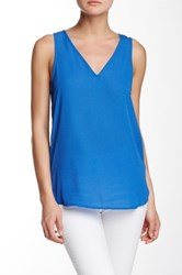 Ro And De Pattern Lace Up Back Tank Blue