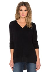 Vince Mixed Media Slim V Neck Sweater Black