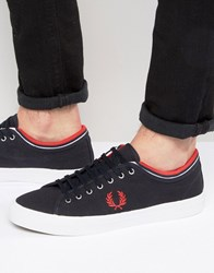 Fred Perry Kendrick Tipped Canvas Trainers Navy