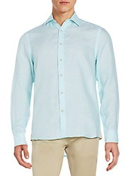 Report Collection Regular Fit Linen Sportshirt Seafoam