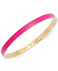 Kate Spade New York Bracelet Gold Tone Fluorescent Pink 'Hot To Trot' Idiom Bangle Bracelet