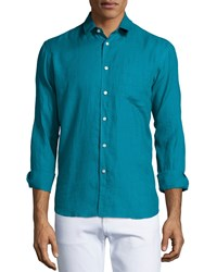 Vilebrequin Solid Long Sleeve Linen Shirt Turquoise