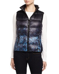 Marc New York Marc Ny Performance Packable Printed Puffer Vest W Hidden Hood Nocturnal Ombre