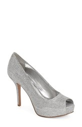 Women's Nine West 'Qt Pie' Platform Peep Toe Pump Silver Sparkle