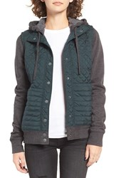 Rvca Women's Unlabel Quilted Hoodie Pine Green