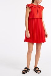 Giamba Studded Collar Dress Red