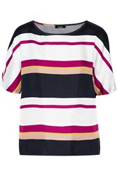 Raoul Striped Brushed Silk Twill Top White