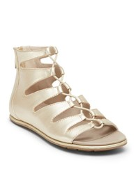 Kenneth Cole Ollie Metallic Leather Gladiator Sandals Silver
