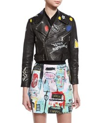 Alice Olivia Cody Embroidered And Printed Leather Moto Jacket Black