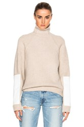 Victoria Beckham Lambswool Military Patch Sleeve Jumper In Neutrals