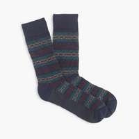 J.Crew Fair Isle Mountain Socks Navy Red Ochre