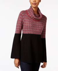 Styleandco. Style Co. Petite Colorblocked Cowl Neck Sweater Only At Macy's New Red Amore Combo