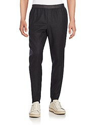 Vince Leather Trim Wool Blend Jogger Pants Black
