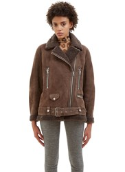 Acne Studios More She Sue Oversized Shearling Jacket Brown