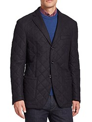 Saks Fifth Avenue Quilted Wool Blend Coat Grey