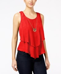 Amy Byer Bcx Juniors' Sleeveless Layered Necklace Top Orange