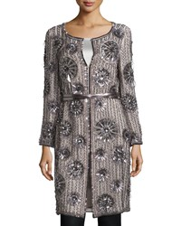 Escada Long Sleeve Embellished Belted Blouse Solitaire