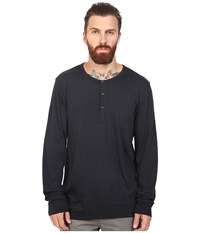 Alternative Apparel Organic Classic Classic Henley Black Men's Long Sleeve Pullover