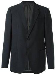 Armani Collezioni Textured Notched Lapel Blazer Grey