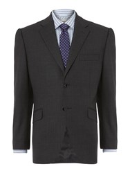 Howick Bank Thick Herringbone Stripe Suit Jacket Charcoal